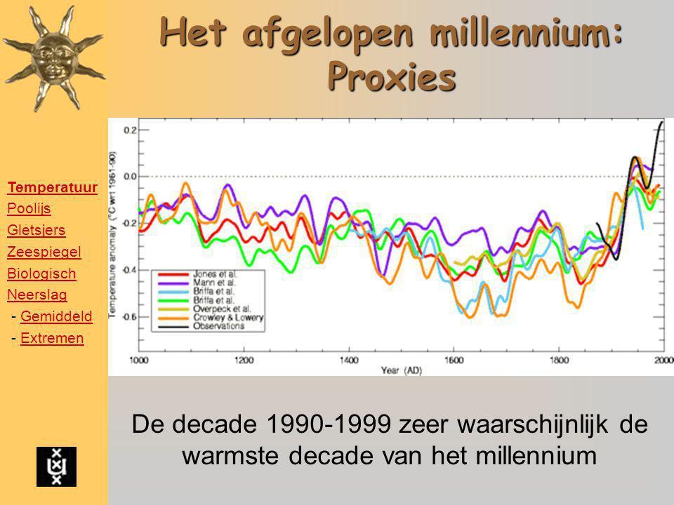 Het afgelopen millennium: Proxies De decade 1990-1999 zeer waarschijnlijk de warmste decade van het millennium Temperatuur Poolijs Gletsjers Zeespiege