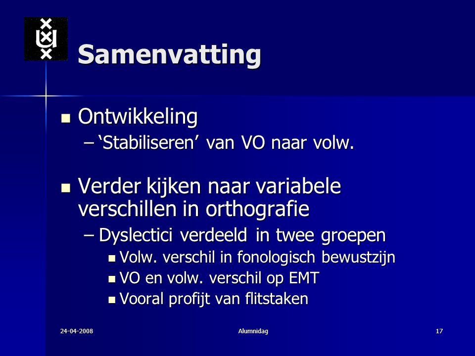 24-04-2008Alumnidag17 Samenvatting Ontwikkeling Ontwikkeling –'Stabiliseren' van VO naar volw. Verder kijken naar variabele verschillen in orthografie