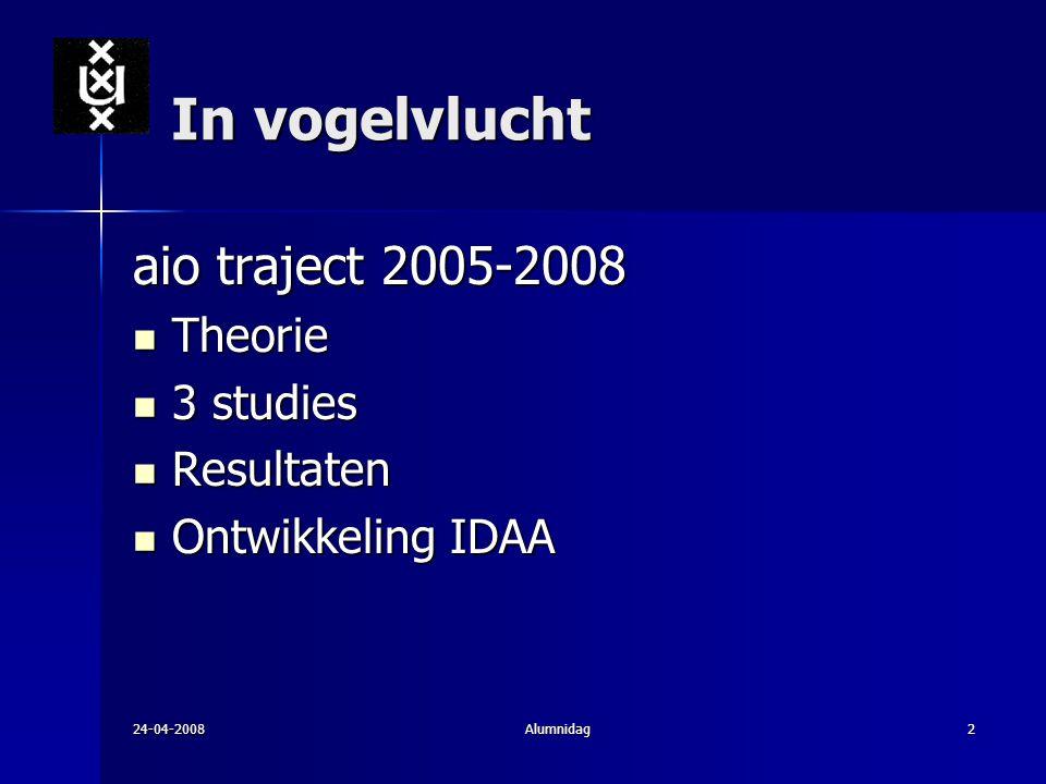 24-04-2008Alumnidag2 In vogelvlucht aio traject 2005-2008 Theorie Theorie 3 studies 3 studies Resultaten Resultaten Ontwikkeling IDAA Ontwikkeling IDA