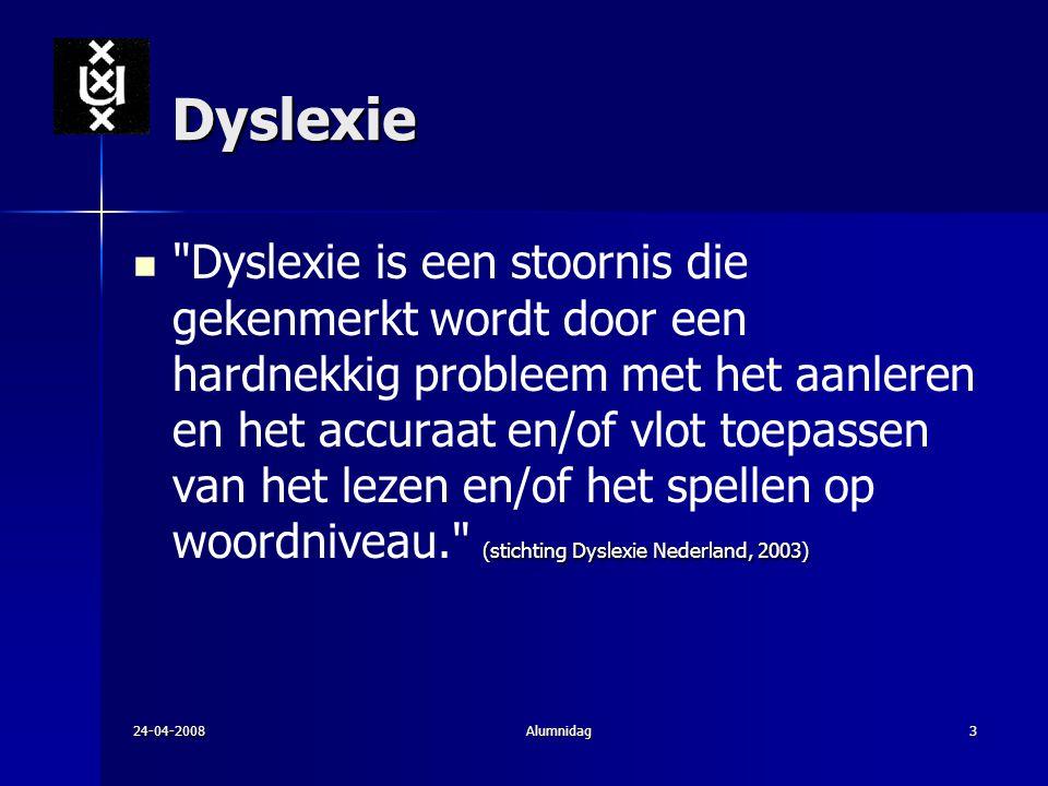24-04-2008Alumnidag3 Dyslexie (stichting Dyslexie Nederland, 2003)