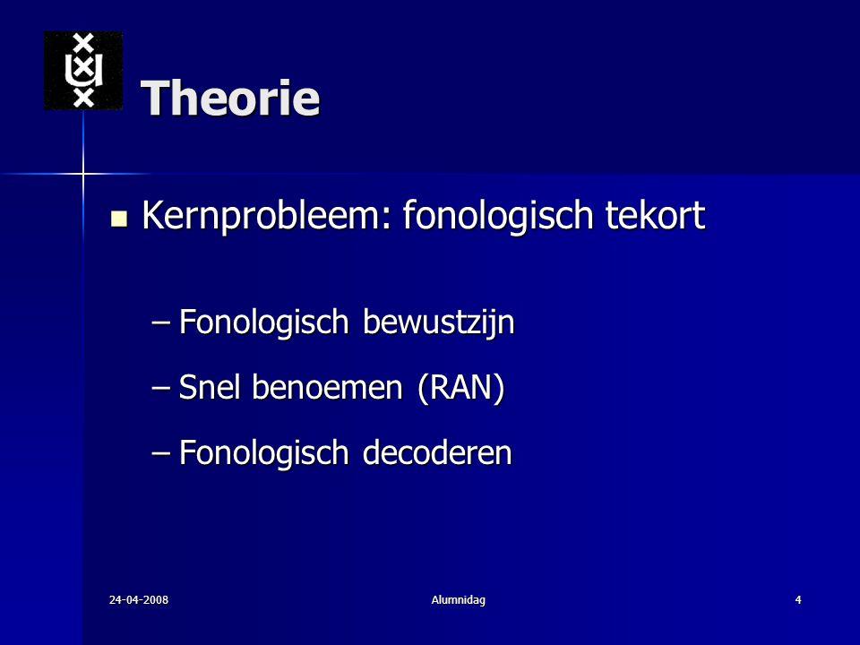 24-04-2008Alumnidag4 Theorie Kernprobleem: fonologisch tekort Kernprobleem: fonologisch tekort –Fonologisch bewustzijn –Snel benoemen (RAN) –Fonologis