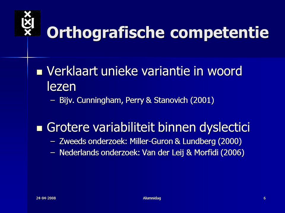 24-04-2008Alumnidag6 Orthografische competentie Verklaart unieke variantie in woord lezen Verklaart unieke variantie in woord lezen –Bijv. Cunningham,