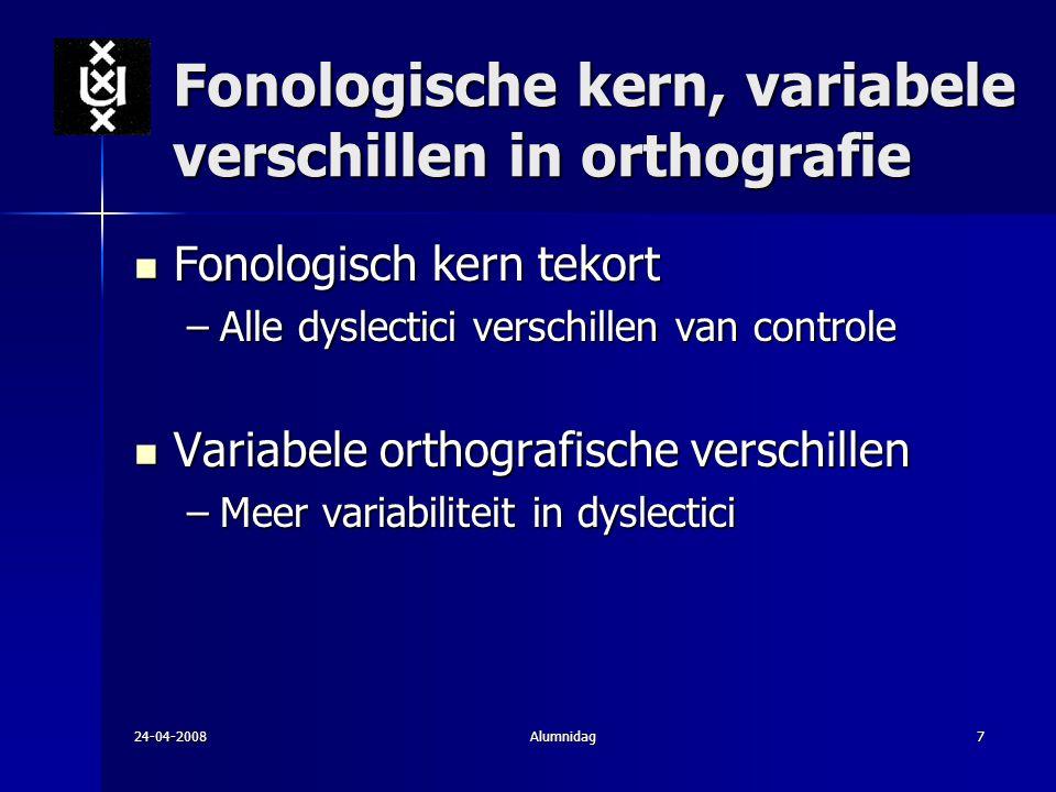 24-04-2008Alumnidag7 Fonologische kern, variabele verschillen in orthografie Fonologisch kern tekort Fonologisch kern tekort –Alle dyslectici verschil