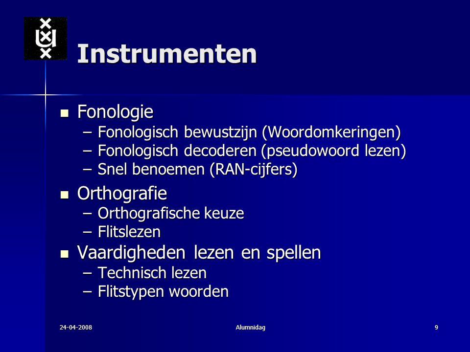 24-04-2008Alumnidag9 Instrumenten Fonologie Fonologie –Fonologisch bewustzijn (Woordomkeringen) –Fonologisch decoderen (pseudowoord lezen) –Snel benoe