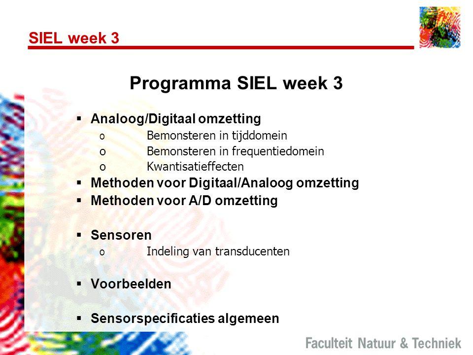SIEL week 3 Programma SIEL week 3  Analoog/Digitaal omzetting o Bemonsteren in tijddomein oBemonsteren in frequentiedomein oKwantisatieffecten  Meth