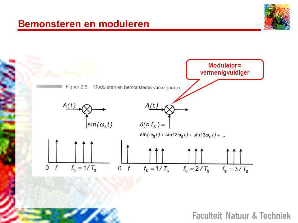 Bemonsteren en moduleren Modulator = vermenigvuldiger