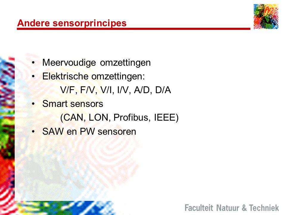 Andere sensorprincipes Meervoudige omzettingen Elektrische omzettingen: V/F, F/V, V/I, I/V, A/D, D/A Smart sensors (CAN, LON, Profibus, IEEE) SAW en P