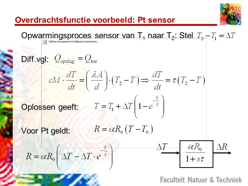 Overdrachtsfunctie voorbeeld: Pt sensor Opwarmingsproces sensor van T 1 naar T 2 : Stel Diff.vgl: Oplossen geeft: Voor Pt geldt: