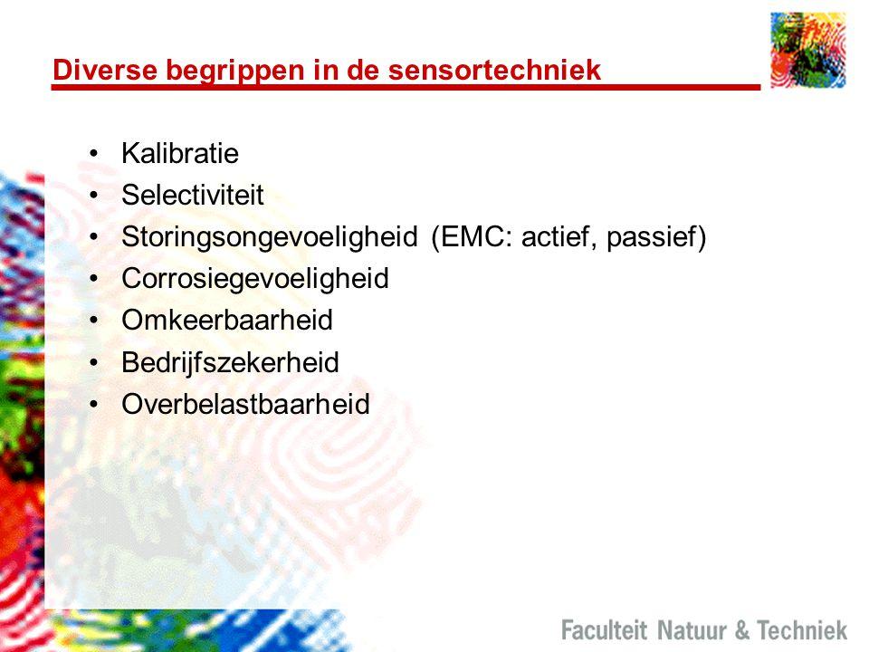 Diverse begrippen in de sensortechniek Kalibratie Selectiviteit Storingsongevoeligheid (EMC: actief, passief) Corrosiegevoeligheid Omkeerbaarheid Bedr