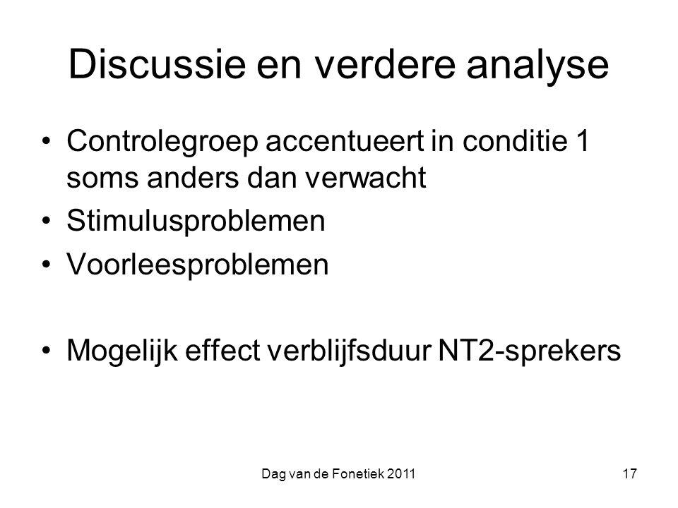 Dag van de Fonetiek 201117 Discussie en verdere analyse Controlegroep accentueert in conditie 1 soms anders dan verwacht Stimulusproblemen Voorleesproblemen Mogelijk effect verblijfsduur NT2-sprekers