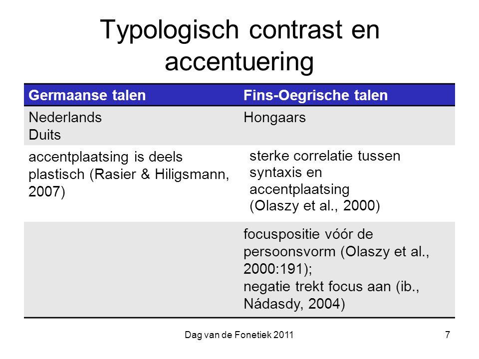 Dag van de Fonetiek 20117 Typologisch contrast en accentuering Germaanse talenFins-Oegrische talen Nederlands Duits Hongaars accentplaatsing is deels plastisch (Rasier & Hiligsmann, 2007) sterke correlatie tussen syntaxis en accentplaatsing (Olaszy et al., 2000) focuspositie vóór de persoonsvorm (Olaszy et al., 2000:191); negatie trekt focus aan (ib., Nádasdy, 2004)