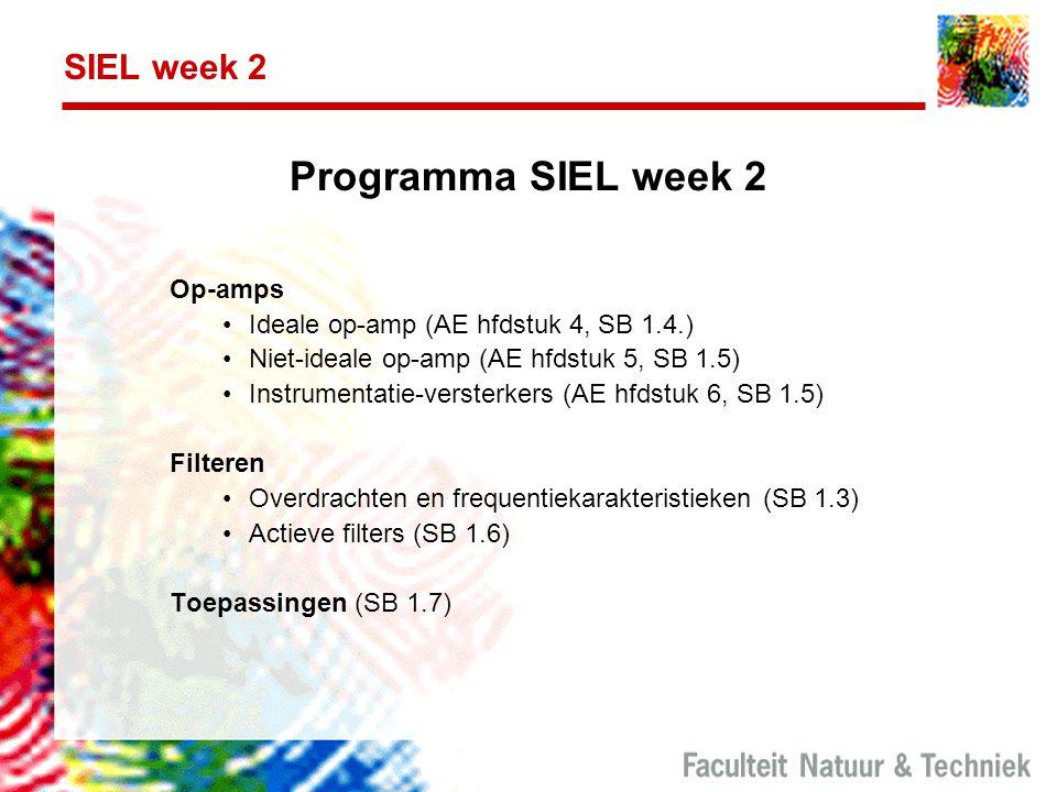 SIEL week 2 Programma SIEL week 2 Op-amps Ideale op-amp (AE hfdstuk 4, SB 1.4.) Niet-ideale op-amp (AE hfdstuk 5, SB 1.5) Instrumentatie-versterkers (