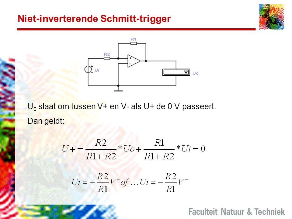 Niet-inverterende Schmitt-trigger U 0 slaat om tussen V+ en V- als U+ de 0 V passeert. Dan geldt: