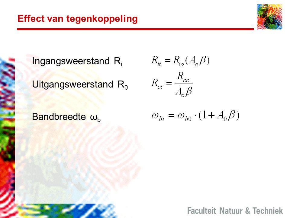 Effect van tegenkoppeling Ingangsweerstand R i Uitgangsweerstand R 0 Bandbreedte ω b