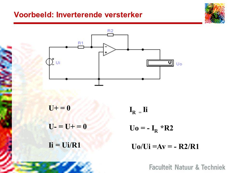 Voorbeeld: Inverterende versterker U+ = 0 U- = U+ = 0 Ii = Ui/R1 I R = Ii Uo = - I R *R2 Uo/Ui =Av = - R2/R1