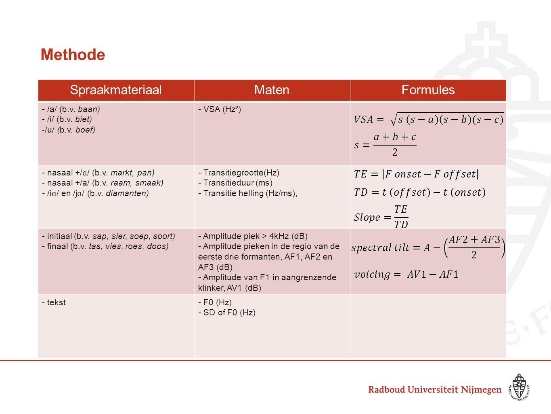 Ruis spectrum van /s/ wordt vooral bepaald door positie en vorm van de tong Gemiddeld spectrum over 100ms voor en na de transitie van /s/ naar de aangrenzende klinker Spectrale helling -Maat voor het verschil in sterkte tussen midden en hoge (>4 kHz) frequenties in /s/ -Normale productie wordt gekenmerkt door een verschil van 5-20 dB -Amplitude piek beneden 4kHz: constrictie in een posteriore positie -Geen amplitude piek in hoge frequenties: anterior tongpuntpositie (addentaal) Maat van stem -Maat van stemhebbendheid in /s/ in relatie tot de aangrenzende klinker -Normale productie wordt gekenmerkt door een verschil van minimaal 20 dB Methode – spectrale maten van /s/ Uit: Chen & Stevens (2001)