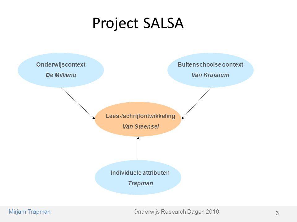Project SALSA Lees-/schrijfontwikkeling Van Steensel Onderwijscontext De Milliano Buitenschoolse context Van Kruistum Individuele attributen Trapman M