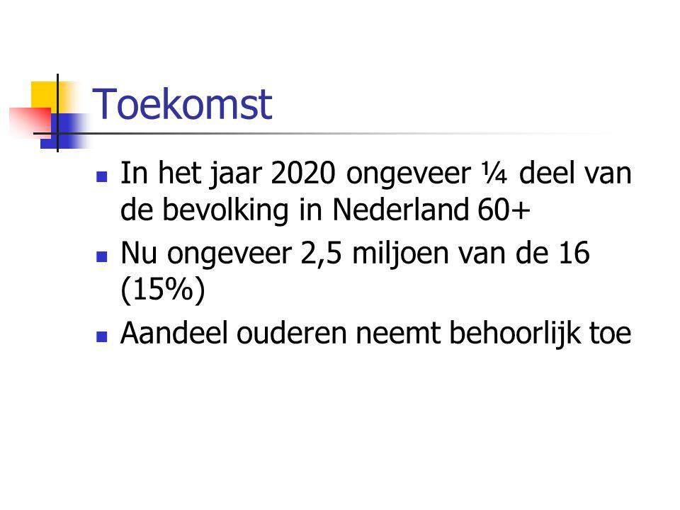 Toekomst In het jaar 2020 ongeveer ¼ deel van de bevolking in Nederland 60+ Nu ongeveer 2,5 miljoen van de 16 (15%) Aandeel ouderen neemt behoorlijk t