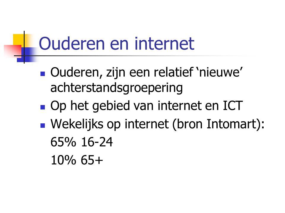 Ouderen en internet Ouderen, zijn een relatief 'nieuwe' achterstandsgroepering Op het gebied van internet en ICT Wekelijks op internet (bron Intomart)