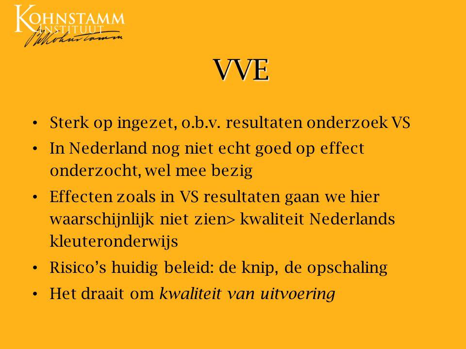 VVE Sterk op ingezet, o.b.v. resultaten onderzoek VS In Nederland nog niet echt goed op effect onderzocht, wel mee bezig Effecten zoals in VS resultat