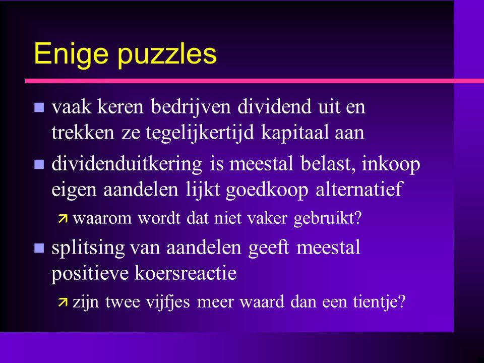 Enige puzzles n vaak keren bedrijven dividend uit en trekken ze tegelijkertijd kapitaal aan n dividenduitkering is meestal belast, inkoop eigen aandel