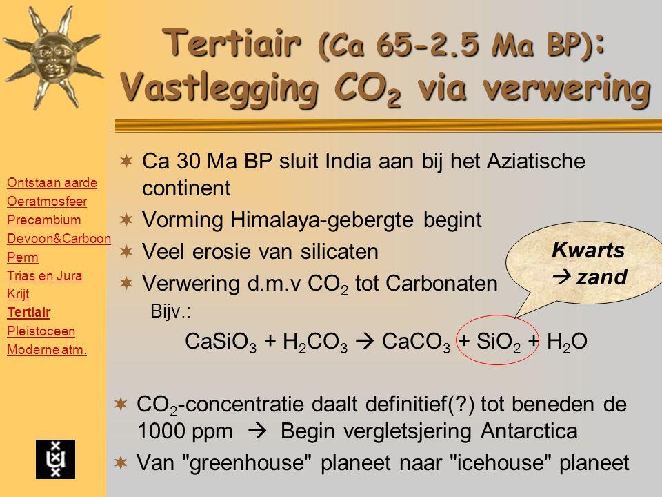 Tertiair (Ca 65-2.5 Ma BP) : Vastlegging CO 2 via verwering  Ca 30 Ma BP sluit India aan bij het Aziatische continent  Vorming Himalaya-gebergte begint  Veel erosie van silicaten  Verwering d.m.v CO 2 tot Carbonaten Bijv.: CaSiO 3 + H 2 CO 3  CaCO 3 + SiO 2 + H 2 O  CO 2 -concentratie daalt definitief(?) tot beneden de 1000 ppm  Begin vergletsjering Antarctica  Van greenhouse planeet naar icehouse planeet Kwarts  zand Ontstaan aarde Oeratmosfeer Precambium Devoon&Carboon Perm Trias en Jura Krijt Tertiair Pleistoceen Moderne atm.