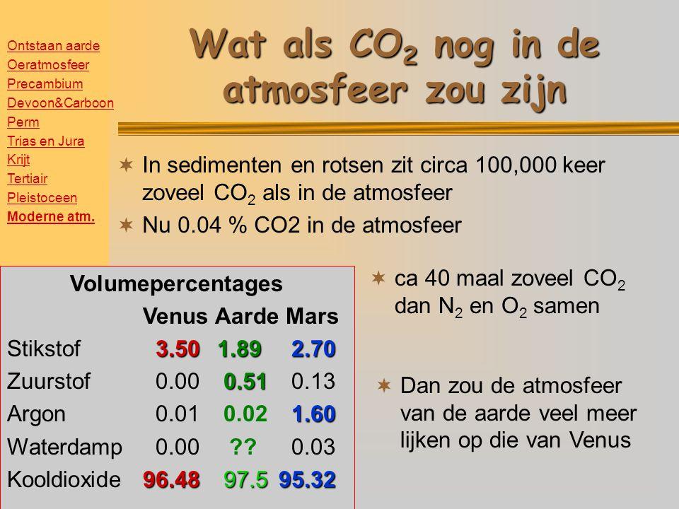 Wat als CO 2 nog in de atmosfeer zou zijn  In sedimenten en rotsen zit circa 100,000 keer zoveel CO 2 als in de atmosfeer  Nu 0.04 % CO2 in de atmosfeer  ca 40 maal zoveel CO 2 dan N 2 en O 2 samen Volumepercentages Venus Aarde Mars 3.5077.462.70 Stikstof 3.5077.46 2.70 20.78 Zuurstof 0.0020.78 0.13 1.60 Argon 0.01 0.93 1.60 Waterdamp 0.00 0.79 0.03 96.480.0495.32 Kooldioxide96.48 0.0495.32 Volumepercentages Venus Aarde Mars 3.50 1.892.70 Stikstof 3.50 1.89 2.70 0.51 Zuurstof 0.00 0.51 0.13 1.60 Argon 0.01 0.02 1.60 Waterdamp 0.00 ?.