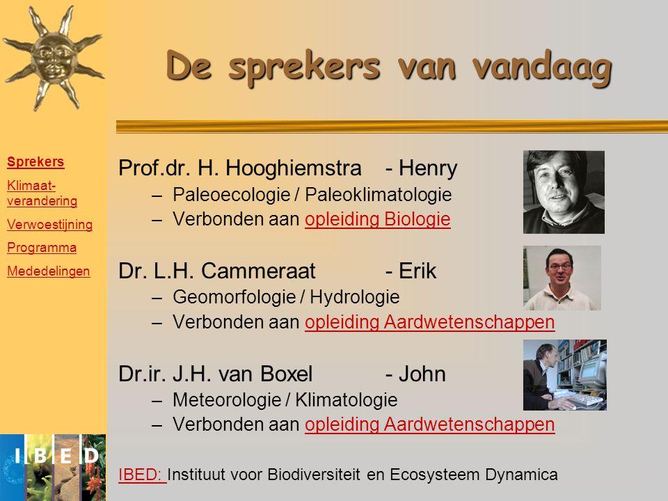 De sprekers van vandaag Prof.dr. H. Hooghiemstra- Henry –Paleoecologie / Paleoklimatologie –Verbonden aan opleiding Biologieopleiding Biologie Dr. L.H