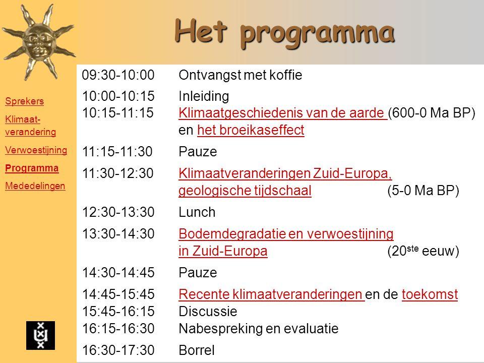 Het programma 09:30-10:00 Ontvangst met koffie 10:00-10:15 Inleiding 10:15-11:15 Klimaatgeschiedenis van de aarde (600-0 Ma BP)Klimaatgeschiedenis van