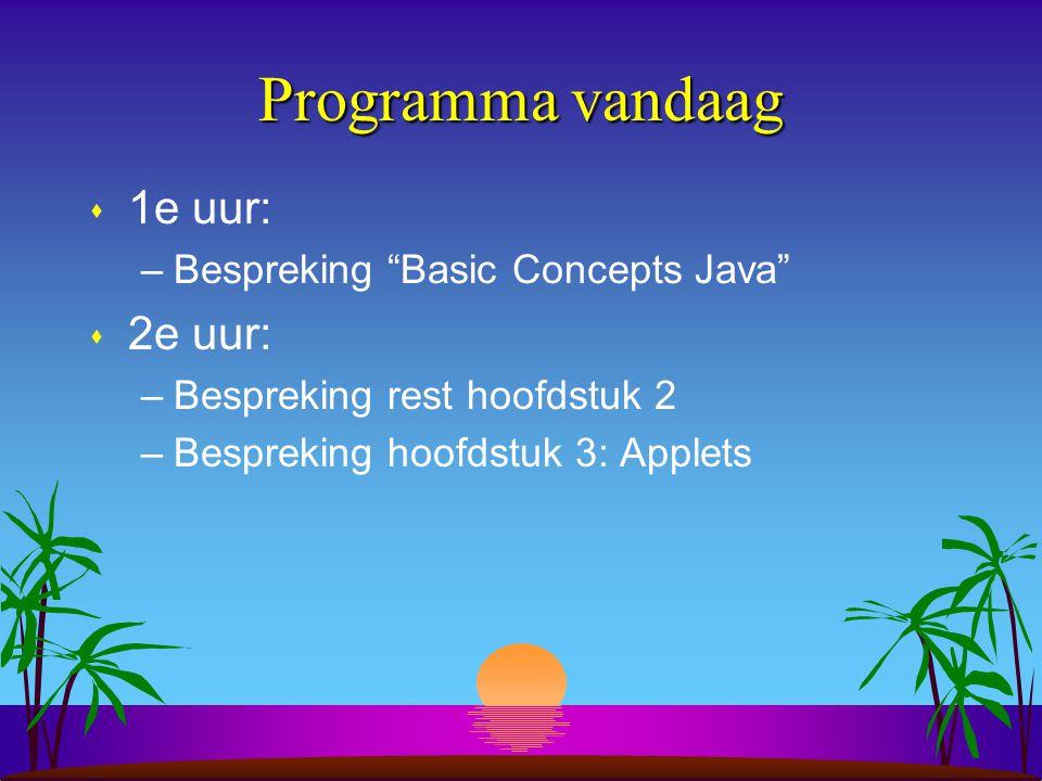 Programma vandaag s 1e uur: –Bespreking Basic Concepts Java s 2e uur: –Bespreking rest hoofdstuk 2 –Bespreking hoofdstuk 3: Applets