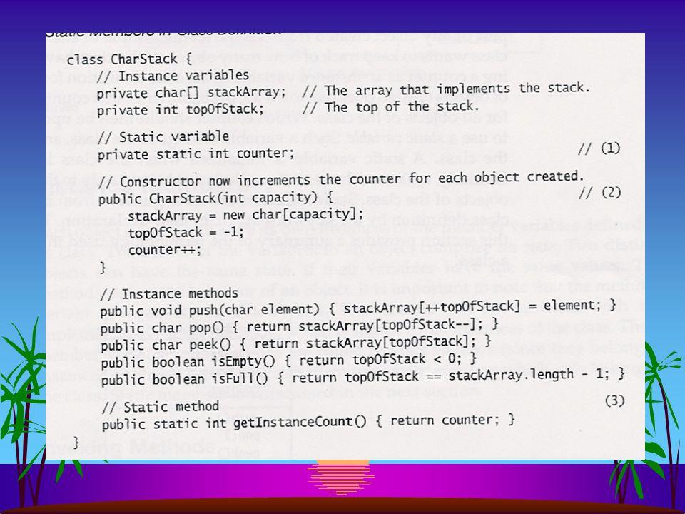 Java codering s geen gescheiden notatie s modifier static voor zowel variabelen als methoden s volgorde code conventie? –static variabelen vooraan –st