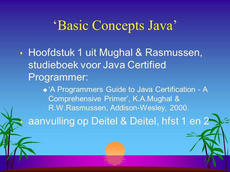 """Programma vandaag s 1e uur: –Bespreking """"Basic Concepts Java"""" s 2e uur: –Bespreking rest hoofdstuk 2 –Bespreking hoofdstuk 3: Applets"""