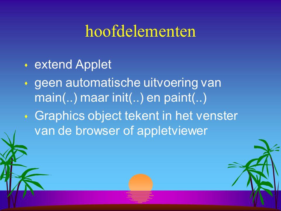 11. Voorbeeld: Java applet s Wat zijn de hoofdelementen ? s Hoe gaat het compileren en runnen van een applet ?