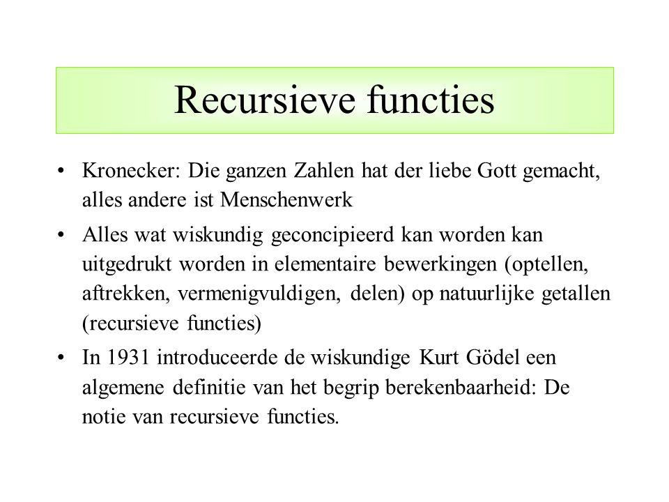 Recursieve functies Kronecker: Die ganzen Zahlen hat der liebe Gott gemacht, alles andere ist Menschenwerk Alles wat wiskundig geconcipieerd kan worde