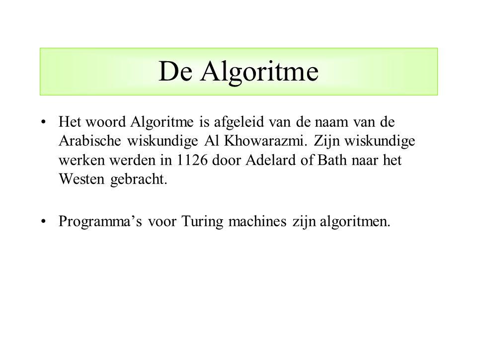 De Algoritme Het woord Algoritme is afgeleid van de naam van de Arabische wiskundige Al Khowarazmi. Zijn wiskundige werken werden in 1126 door Adelard