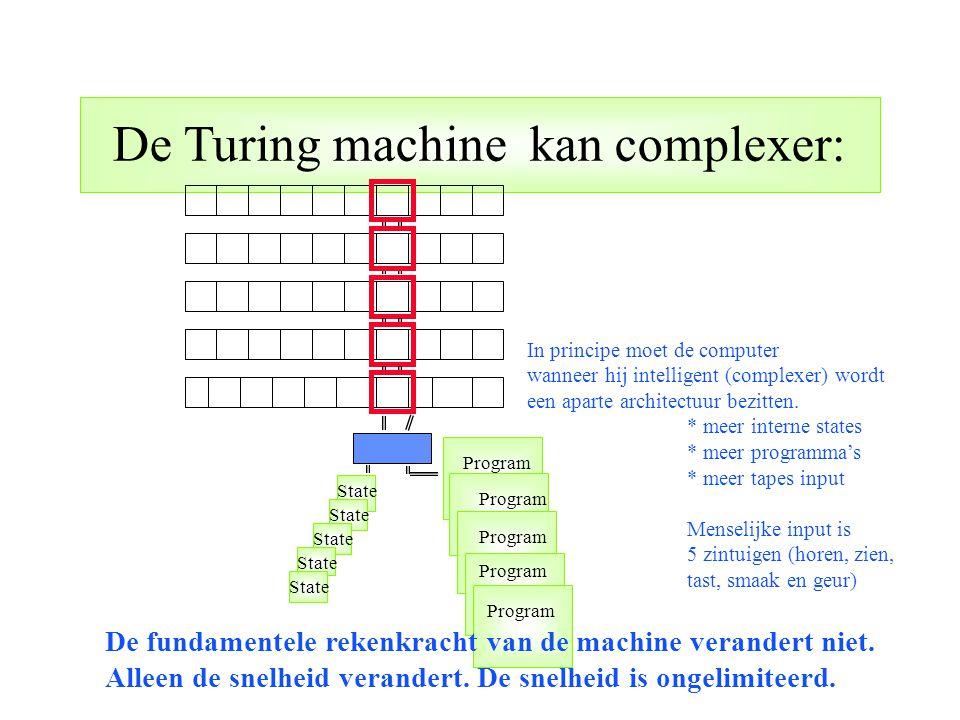 De Turing machine kan complexer: State Program State Program In principe moet de computer wanneer hij intelligent (complexer) wordt een aparte archite