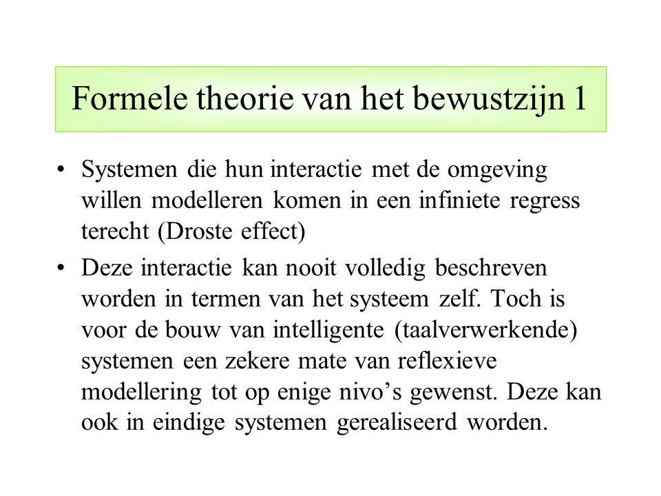 Formele theorie van het bewustzijn 1 Systemen die hun interactie met de omgeving willen modelleren komen in een infiniete regress terecht (Droste effe
