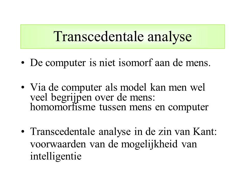 Transcedentale analyse De computer is niet isomorf aan de mens. Via de computer als model kan men wel veel begrijpen over de mens: homomorfisme tussen
