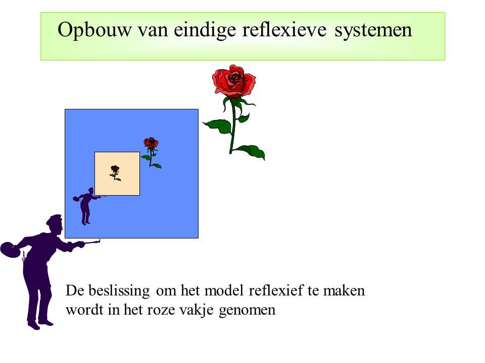 Opbouw van eindige reflexieve systemen De beslissing om het model reflexief te maken wordt in het roze vakje genomen