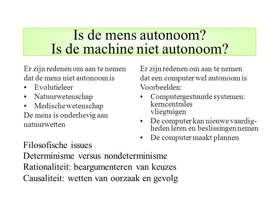 Filosofische issues Determinisme versus nondeterminisme Rationaliteit: beargumenteren van keuzes Causaliteit: wetten van oorzaak en gevolg Is de mens