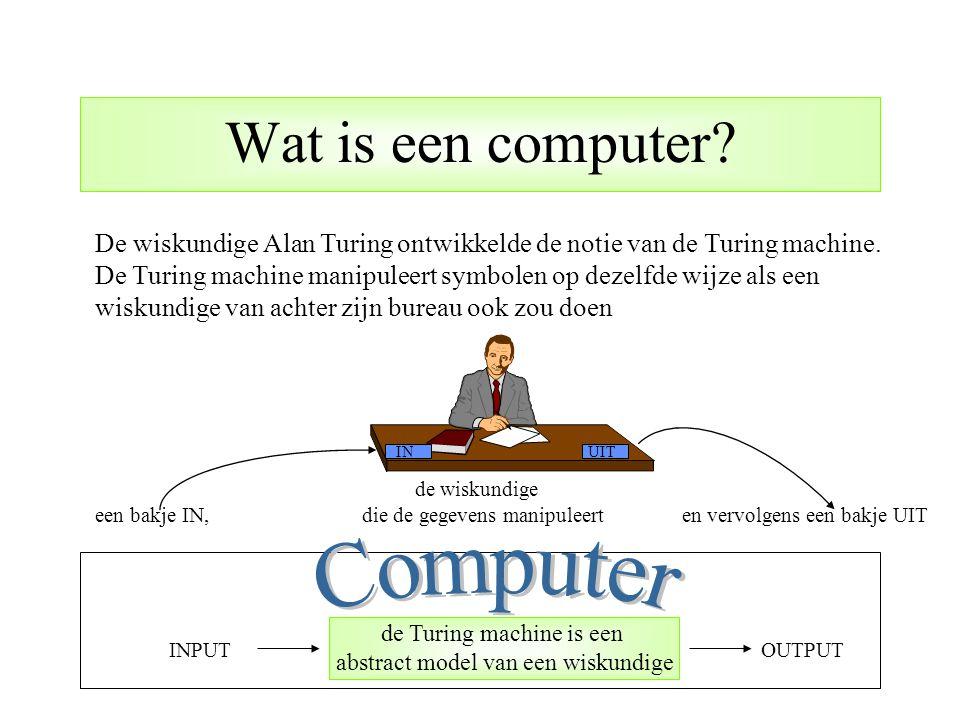 De wiskundige Alan Turing ontwikkelde de notie van de Turing machine. De Turing machine manipuleert symbolen op dezelfde wijze als een wiskundige van