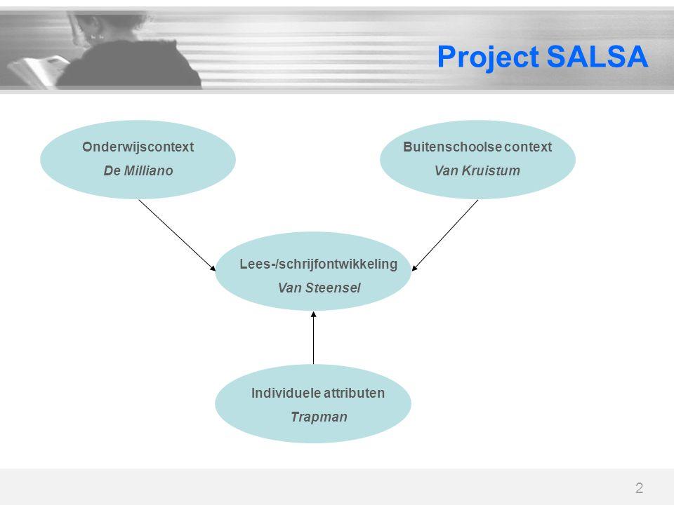 2 Project SALSA Lees-/schrijfontwikkeling Van Steensel Onderwijscontext De Milliano Buitenschoolse context Van Kruistum Individuele attributen Trapman