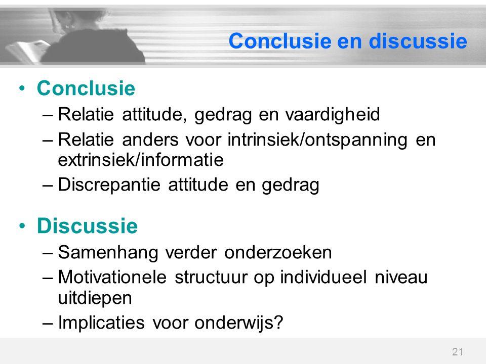 21 Conclusie en discussie Conclusie –Relatie attitude, gedrag en vaardigheid –Relatie anders voor intrinsiek/ontspanning en extrinsiek/informatie –Dis
