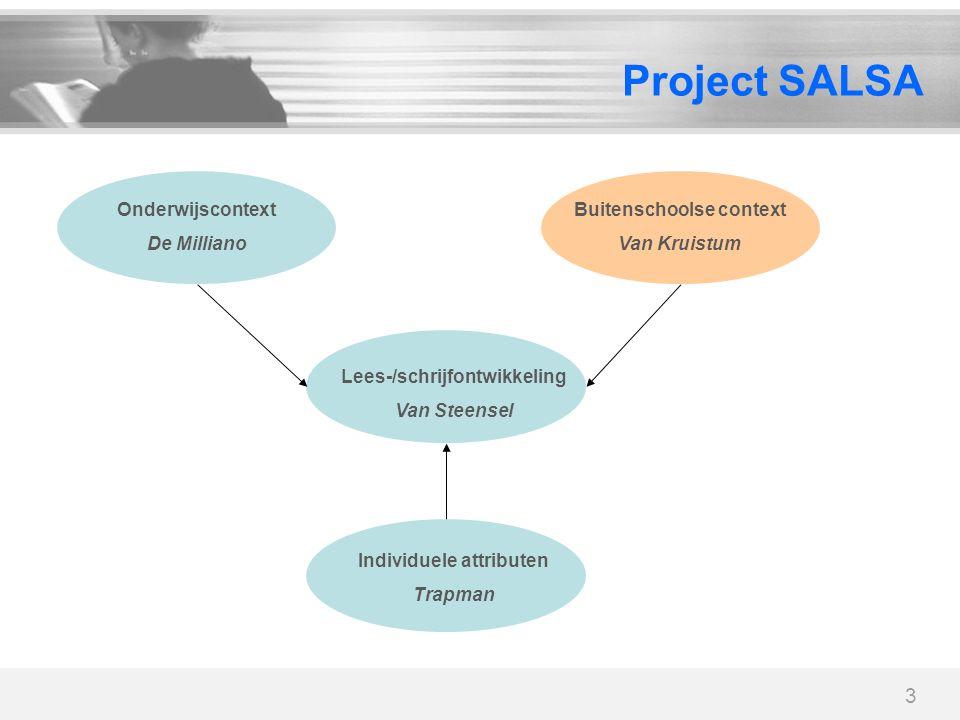 3 Project SALSA Lees-/schrijfontwikkeling Van Steensel Onderwijscontext De Milliano Buitenschoolse context Van Kruistum Individuele attributen Trapman