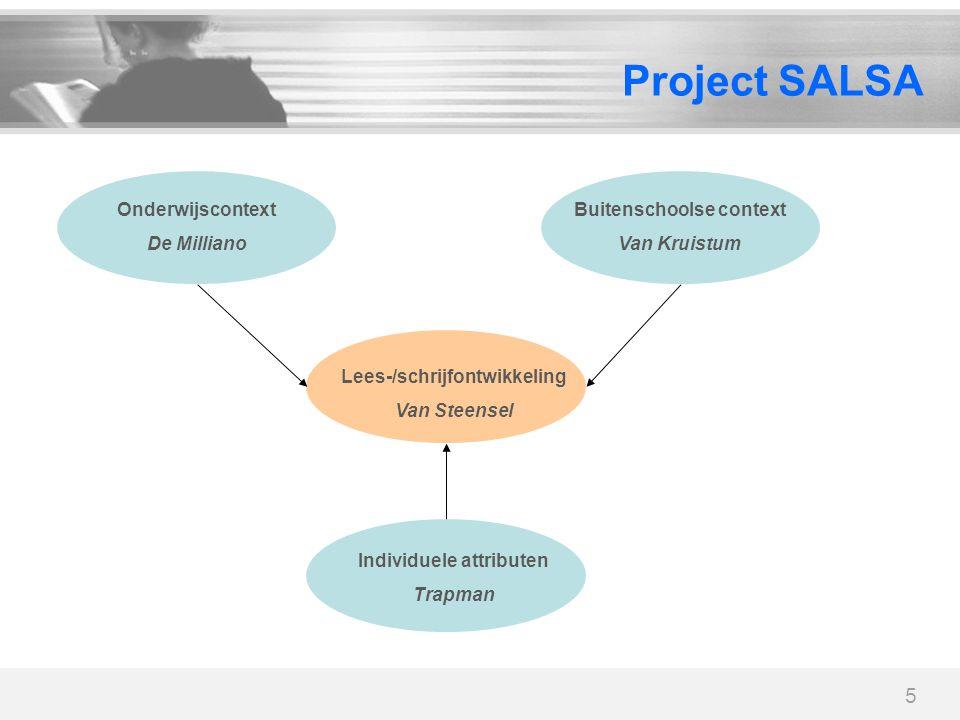 5 Project SALSA Lees-/schrijfontwikkeling Van Steensel Onderwijscontext De Milliano Buitenschoolse context Van Kruistum Individuele attributen Trapman