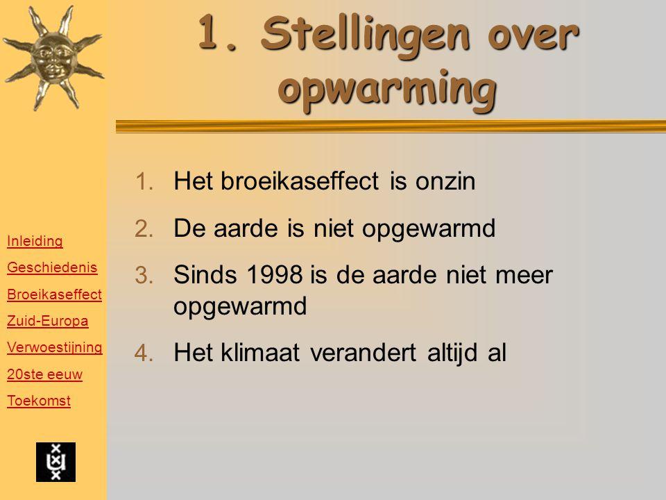 1.Stellingen over opwarming 1. Het broeikaseffect is onzin 2.