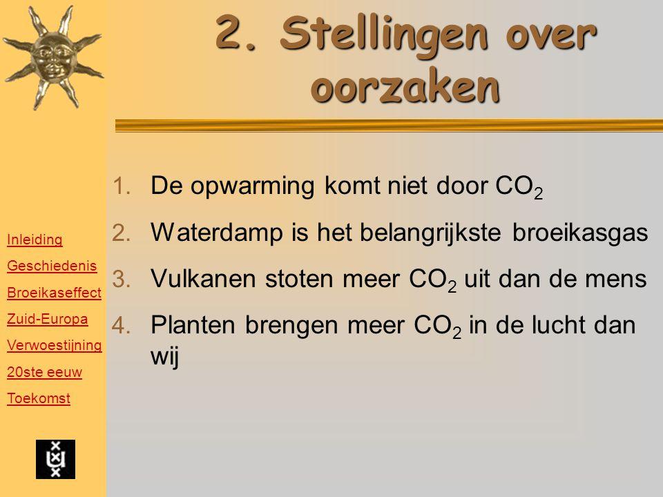 2.Stellingen over oorzaken 1. De opwarming komt niet door CO 2 2.
