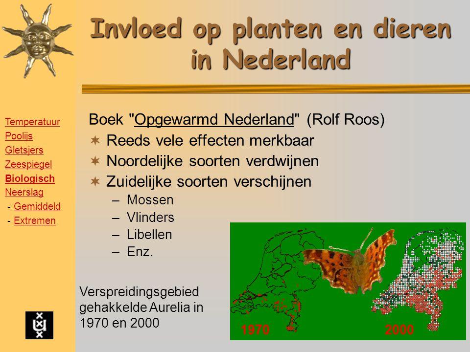 Invloed op planten en dieren in Nederland Boek Opgewarmd Nederland (Rolf Roos)  Reeds vele effecten merkbaar  Noordelijke soorten verdwijnen  Zuidelijke soorten verschijnen –Mossen –Vlinders –Libellen –Enz.