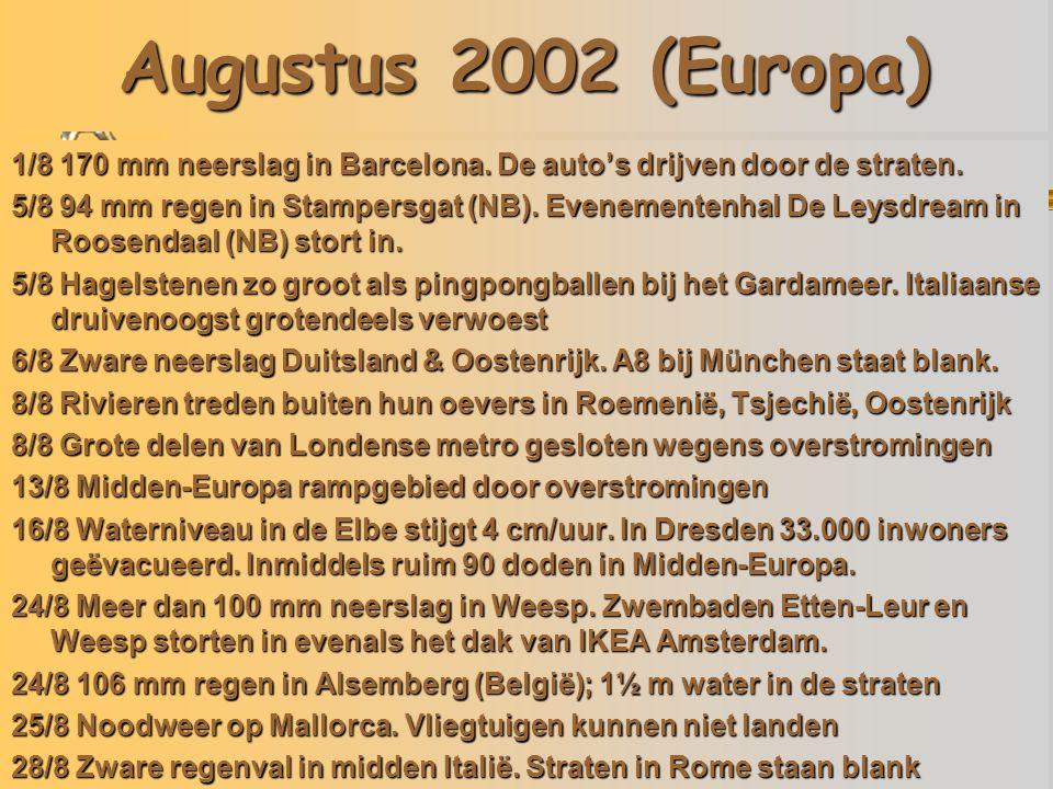 Augustus 2002 (Europa) 05/08/02 Italië 13/08/02 Tsjechië 24/08/02 Etten-Leur 1/8 170 mm neerslag in Barcelona.