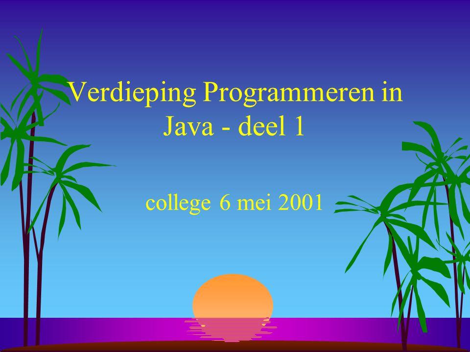 Verdieping Programmeren in Java - deel 1 college 6 mei 2001